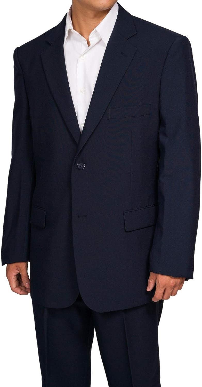 New Era Factory Outlet Men's Slim Fit Navy Blue 2 Button Dress Suit with Flat Front Pants (48 Long)