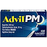 Advil PM (120 Count) Pain Reliever/Nighttime Sleep Aid Coated Caplet, 200mg Ibuprofen, 38m...