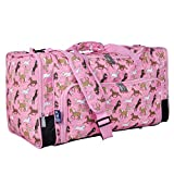Wildkin Kids Weekender Duffel Bag for Boys and Girls, Carry-On Size and Perfect for Weekend or Overnight Travel, 600-Denier Polyester Fabric Duffel Bags Measures 22 x 12 x 12 Inches (Horses in Pink)