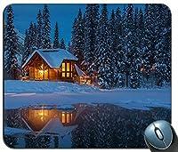 冬の夜の小屋でヨホ国立公園ライト湖の木雪カナダマウスパッド、ゲーム長方形マウスパッド