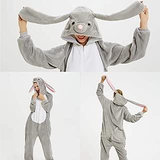 Winter Christmas Resurrection Rabbit Adult Animal Pajamas Onesie Women Men Couple Sleepwear Flannel Hyococ (Color : Mashimaro rabbit, Size : XL)