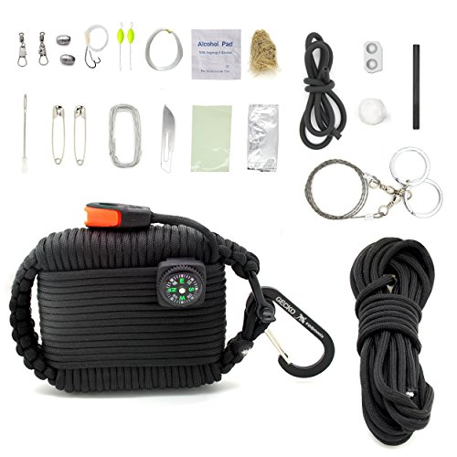 Gecko Equipments Paracord Deluxe Grenade Survival Kit, Black