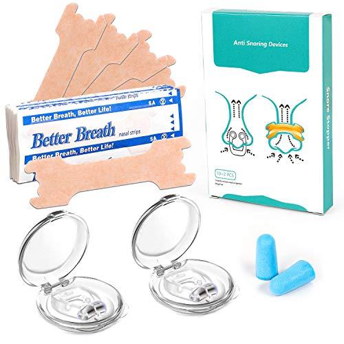 Nasenpflaster-Anti Schnarch, Schnarchstopper Magnetischer Nasenspreizer Gegen Schnarchen Nasenclip mit 10PCS Nosal Patch für komfortablen Schlaf,Transportbox(10+2+1Stück)