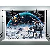 Outer Space Backdrop Galaxy Wars Photo Backgrounds 10x7ft Boys Party Supplies Black Stars Science Fiction Photography Backdrop Kids Birthday Decorations Banner LSFH1221