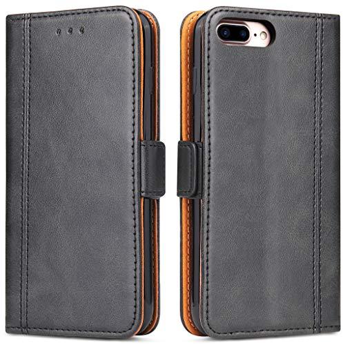 Bozon Handyhülle für iPhone 7 Plus/ 8 Plus, Lederhülle mit Kartenfächer, Schutzhülle mit Standfunktion, Klapphülle Tasche für Apple iPhone 7 Plus/ 8 Plus (Schwarz)