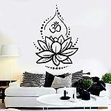 JXWH 50.4x36cm Lotus Wall Decal Yoga Studio Decoración Hinduismo Símbolos hindúes Meditación Etiqueta de la Pared Vinilo Hogar Dormitorio Decoración Mural