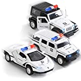 Top Race Metal Diecast Model Police Cars - Pull Back Models - Battery Powered Car Sets with Lights and Sirens for Children Kids Boys Boy Child Kid Adults Ages 2 3 4 5 Year Olds - 1:32 Scale Set of 3