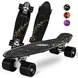Gonex Monopatín Skateboards Patinete Retro Crucero Completo para Niños Jóvenes Adultos, Skates Penny Board Patín (22 Pulgadas, 4 PU Ruedas Traslúcidas, Tabla de Plástico Reforzado, Rodamiento ABEC-7)