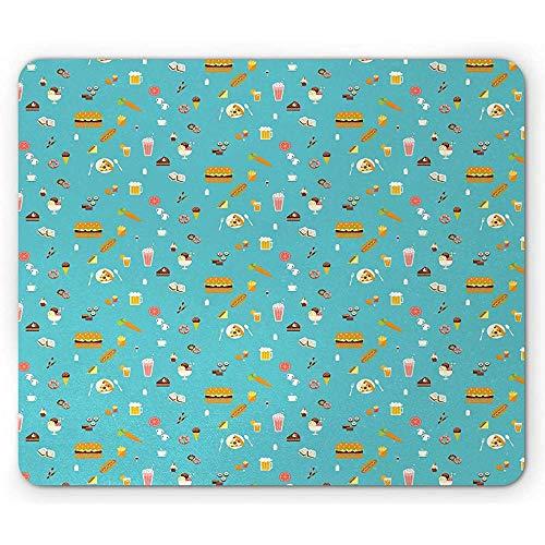 Alfombrilla de ratón antideslizante para ratón, estilo minimalista, para hamburguesas, sushi, pizza, cerveza, batido de hielo, rectangular, de goma antideslizante