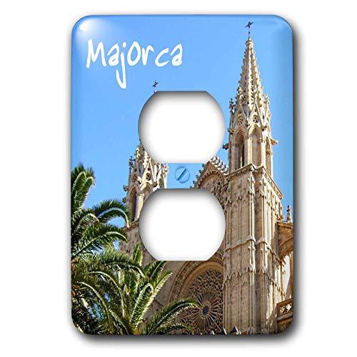 Einzelne Duplex-Wandplatte, Steckdosen-Wandplatte, Mallorca-Kirche mit Palmen, spanische Kathedrale von Santa Maria von Palma, religiöse La Seu Spanien, 2 Steckdosen