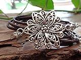MANDALA STERN dunkelbraunes Wickelarmband mit Blume