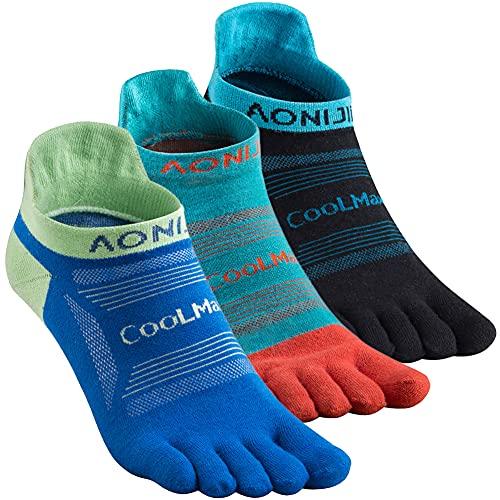 AoMagic Men & Women's Five Toe Socks for running hiking,Athletic 5 Toe Socks Lightweight Breathable-Value 3 Packs Low Cut Classic - Medium