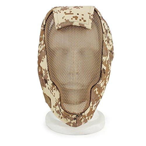 XUE Airsoft Maske Camo Full Face Mesh Gesichtsmaske Taktische Paintball Schutz Masken für Fechten Jagd Halloween (7 Farbe)