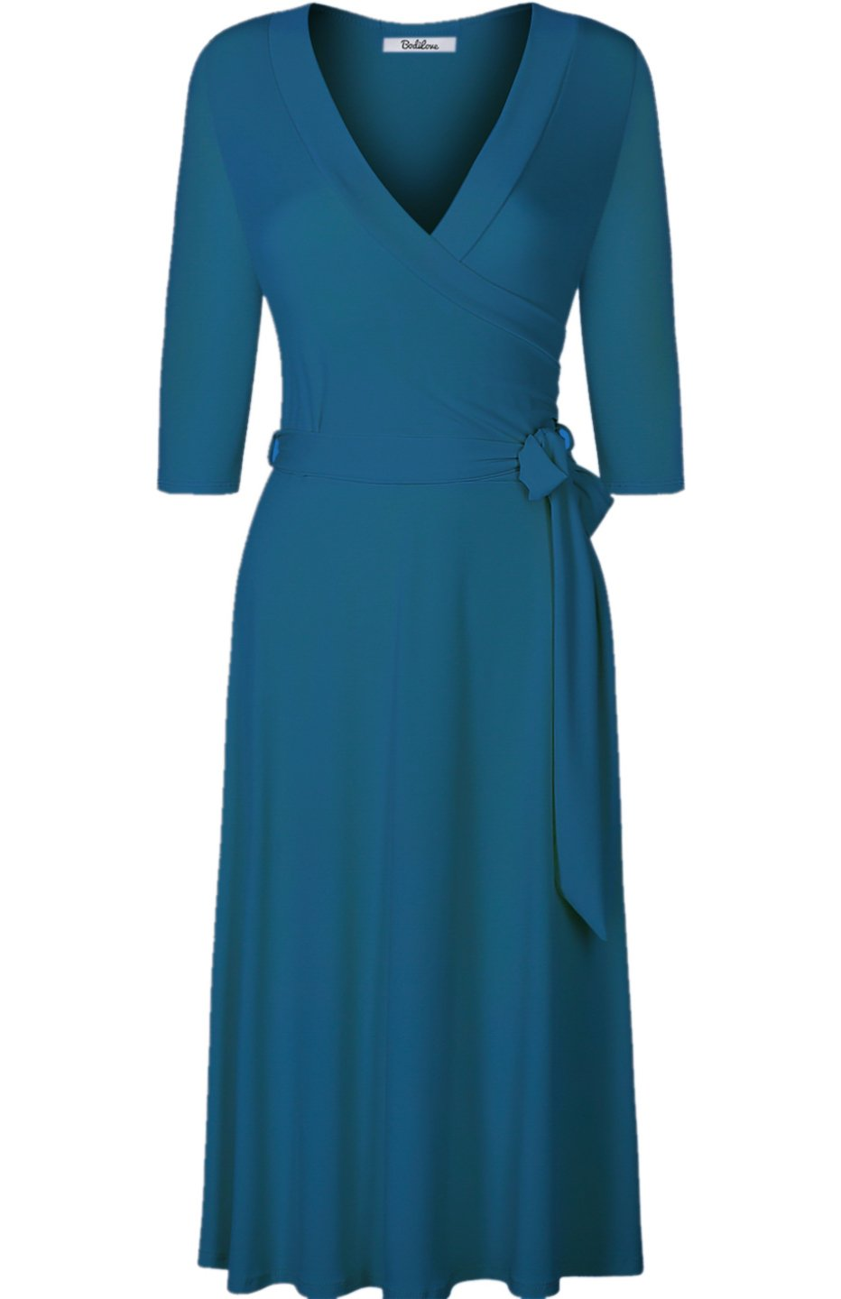 Available at Amazon: BodiLove Women's 3/4 Sleeve V-Neck Solid Knee Length Wrap Dress