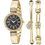 Anne Klein Women's Swarovski Crystal Accented Gold-Tone Bangle Watch and Bracelet Set, AK/3294BGST