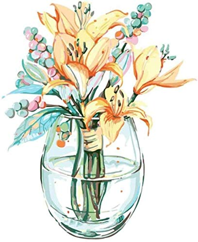 Kit de pintura por número Pinceles de bricolaje Acrílico Adultos Pintura para principiantes para regalo Decoración de su hogar 40x50cm Sin marco Botella de vidrio flor