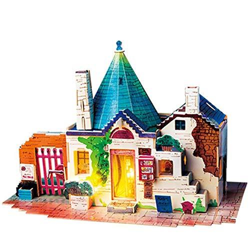 Delili DIY Puppenhaus, DIY-Häuschen Im Italienischen Stil, Kinder Erwachsene Miniatur Holz Modellbau Puppenhaus Spielzeug