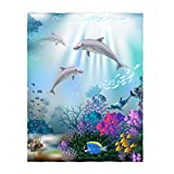 QH 60 x 80 Inch Dolphin Underwater World Pattern Super Soft Throw Blanket for Bed Sofa Lightweight Blanket for All Seasons