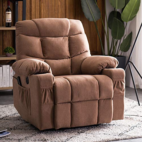 Power Lift Microfiber Electric Recliner Chair for Living Room Single Sofa with 2 Cup Holders Side Pockets Home Theater Seating Massage Padded Seat Backrest