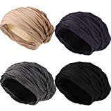 SATINIOR 4 Pieces Wrinkled Beanie Cap Slouchy Baggy Beanie Skull Hat for Winter/Autumn