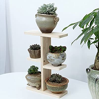 Wood Shelve Three Tiers Desktop Mini Plant Pots Stand