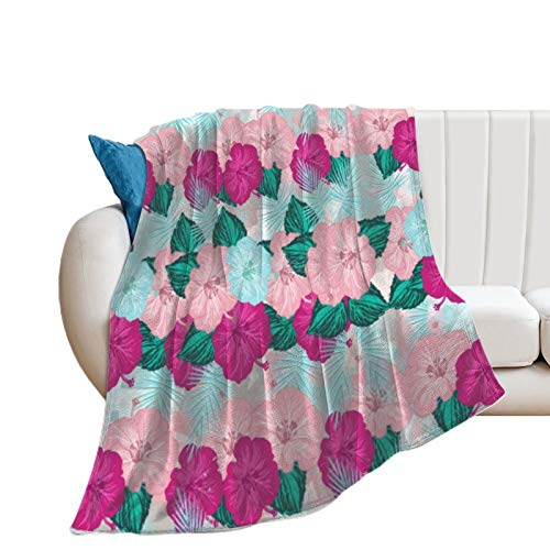 Flannel Bed Blanket Purple Blue Pink Flowers Soft Warm Throw für Bed Sofa Chair Living Room Office Farmhouse Campingtravel 60 x 80 Zoll