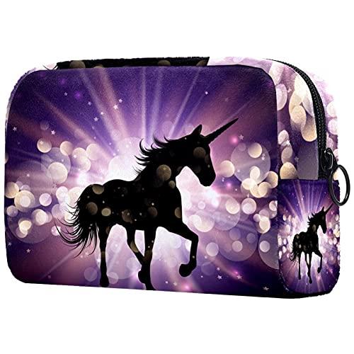 Unicorn Starburst - Bolsa de maquillaje para bolso de viaje, neceser de viaje, organizador de cosméticos, portátil, versátil con cremallera, para mujeres y niñas
