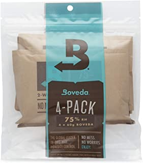 Boveda 75% RH 60 Gram, Patented 2-Way Humidity Control, (1) 4-Pack, Unwrapped, Resealable Bag; Up to 25 Cigars; Perfect for Leaky humidors, Desert climates and Higher altitudes