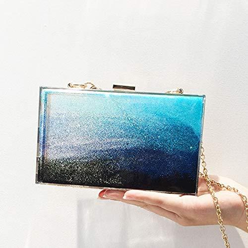 SAOGA Acryl glitter poeder zandzakken handtassen kleine doos vierkante zak kleine verse doos dinertas schouder diagonaal pakket, blauwe oceaan