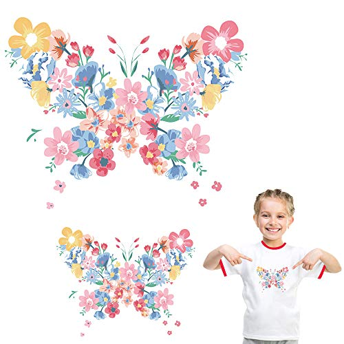 Colorful Flowers Butterfly Iron On Stickers for T-Shirt Jackets Jeans Bags Floral Patches Appliques Decals Heat Transfer Vinyl DIY Arts Crafts Projects Clothing Decoration Supplies Accessories 2 Pcs