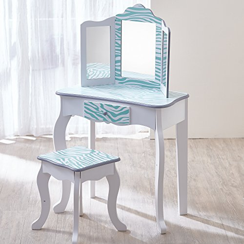Teamson Kids - Fashion Prints Girls Vanity Table and Stool Set with Mirror - Zebra (Aqua Blue / White)