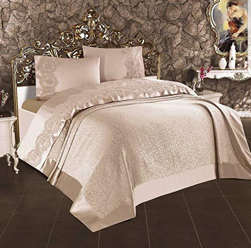 Irina Home Bettwäsche, hochwertig, türkische Herstellung, Baumwolle, Satin, Spitze & Brokat, erhältlich in Taupe, Creme & Rosa, vier Kissenbezüge, ein Bettlaken & eine Tagesdecke 230/240 cm.