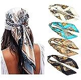 WELROG 4 Pack Pañuelos Cabeza Mujer - 90 * 90 cm Bandanas Grandes Pañuelos Cuadrados como seda Bufanda de pelo Mancha Diadema para Niñas (Serie 3)