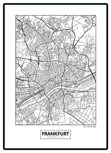 Stadtposter Minimalistic Stadtplanen Poster - Berlin, Hamburg, Munich, Frankfurt, Cologne (Frankfurt)
