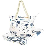 Beach Bag Spacious Shoulder Tote Travel & Gym Bag w/Multiple Pockets & Strong Zipper (Summer vibe)