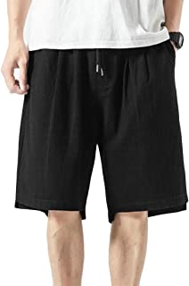 Macondoo Men's Beach Loose Casual Linen Elastic Waist Chinese Style Cargo Shorts