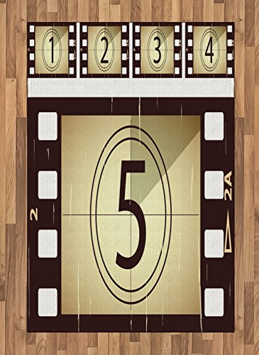 Ambesonne Movie Theater Area Rug, Scratched Film Strips Vintage Movie Frame Pattern Grunge Illustration, Flat Woven Accent Rug for Living Room Bedroom Dining Room, 4' X 5.7', Beige Brown