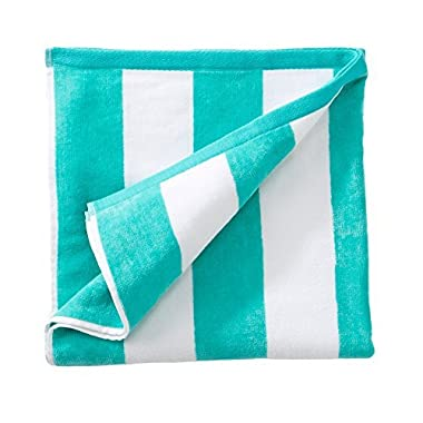 Great Bay Home 100% Cotton Plush Cabana Stripe Oversize Velour Beach Towel (40x70). By Brand. (Teal)