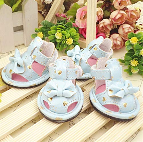 SHENGHUI Neue Pfirsichherz Haustier Sandalen für einen kühlen Sommer Pet Schuhe Hundeschuhe Atmungsaktive Sandalen (Color : RED Bow, Size : 2)