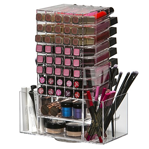 Bestope Make-up-Turm, Acryl, transparent, drehbar, für 80 Lippenstifte, Organizer, Fächer, Kosmetik, 4 Schubladen, Bürstenhalter, 4 Seitenfächer
