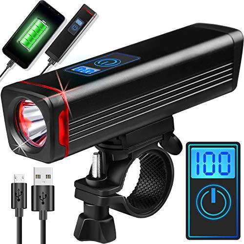 Evolva Future Technology Luz para Bicicleta Luz Delantera LED CREE Recargable por USB para Bicicleta - Pantalla Digital de Tiempo de ejecución, Soporte de liberación rápida