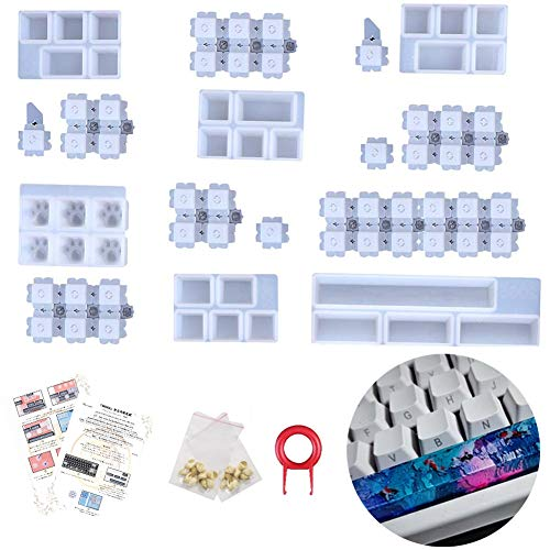 DIY キーキャップ 樹脂モールド シリコーン レジンソフト金型 クリスタルエポキシモールド 手作り工具 Cherry MXメカニカルキーボードとの互換性(日本語の指示付き)