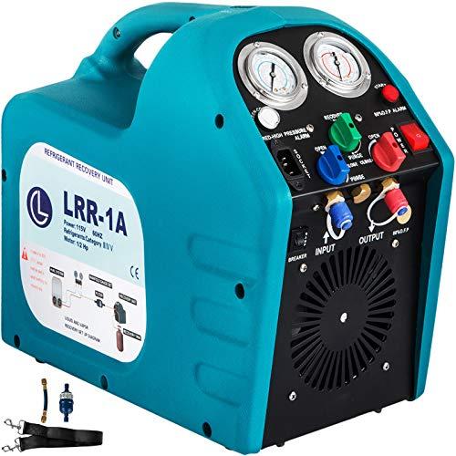 VEVOR 1/2HP Refrigerant Recovery Machine Portable 115V AC Refrigerant Recycling Machine Automotive HVAC 558psi Refrigerant Recovery Unit Air Conditioning Repair Tool (115V)