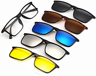 TR90 5Pcs Magnetic Clip on Sunglasses Over Prescription Glasses for Night Driving