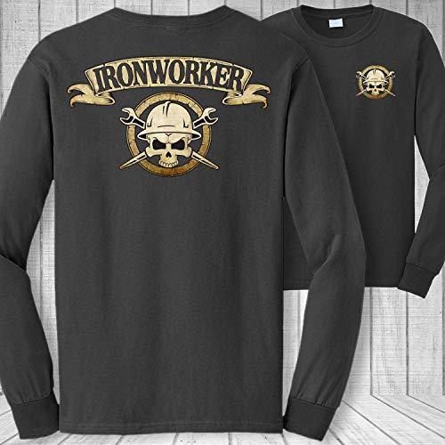 Ironworker Skull and Crossbones Badge Long Sleeve Shirt