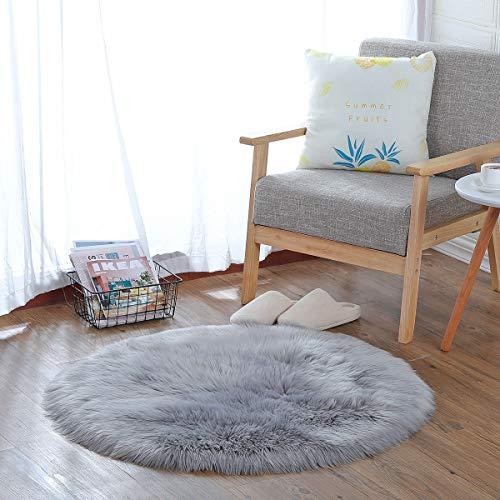 HEQUN Faux Lammfell Schaffell Teppich, Lammfellimitat Teppich Longhair Fell Optik Nachahmung Wolle Bettvorleger Sofa Matte (Grau, 60 X 60 cm)