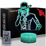 Lámpara de escritorio de una pieza Portgas·D· Ace Kids 3D Night Light Lámpara de ilusión óptica con 16 colores de control remoto cambiante regalo de cumpleaños para niños y niñas