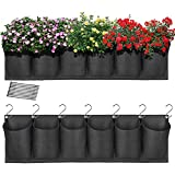 HugeHard Hanging Garden Planter with 6 Pockets, Waterproof Wall Planter Pouch Basket Bag with 7...
