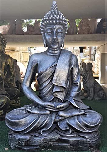 DEGARDEN AnaParra AnaParra Figura Decorativa Buda del Amor Decorativa para Jardín o Exterior Hecho de hormigón-Piedra Artificial | Figura Buda Grande de 73cm, Color Plata