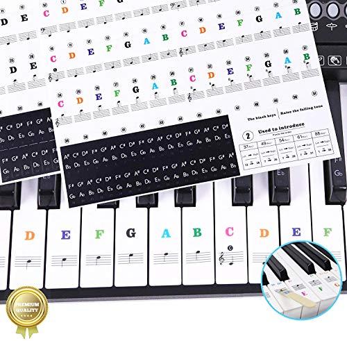 Sparta's Store Pegatinas para pianos o teclados,Pegatinas para teclados,Etiqueta engomada del teclado de piano,Pegatina Teclado Electrónico para 37/49/54/61/88 Teclas.